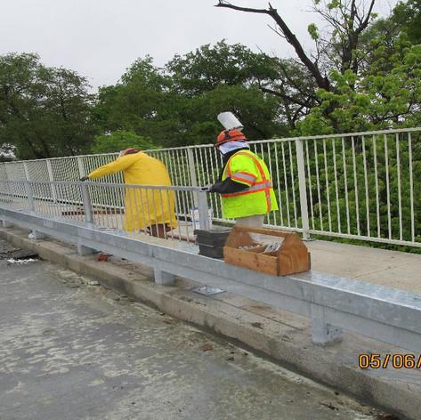 "Installing 42"" Pedestrian Railing, North Bridge."