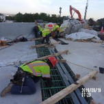 Installing forms for deck extension slab on Bridge 1016 abutment A