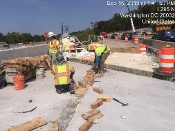 Stripping forms from UHPC on Bridge 1016, Lt of BL