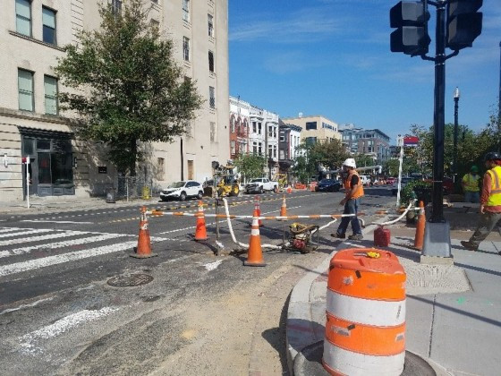 Pressure testing continued at 14th & R St by Omni.