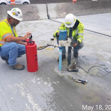 Coring Deck for Crack Repair Penetration Test, Span 5, North Bridge.