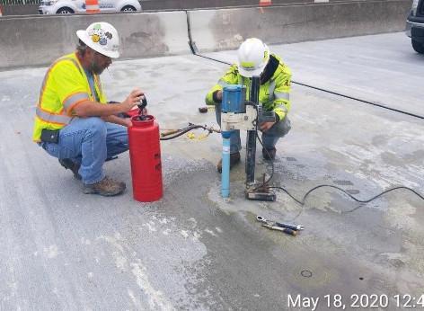Coring Deck for Crack Repair Penetration Test, Span 5, North Bridge.