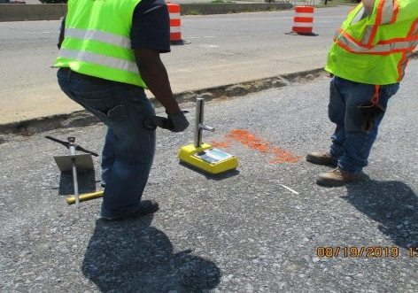 Aggregate Compaction Testing at West Side of Temporary Roadway.