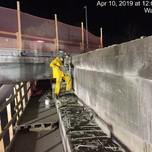 Sawcutting existing backwall on Bridge 1017 Abutment B