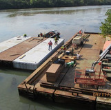 Mobilizing Barges, West Approach of the Bridge