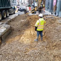 Excavation for installation of Structural Soil between P and Q Street