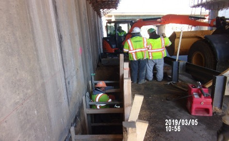 Excavation for superstructure support foundation bridge 1016 Abutment B