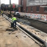 Installing PCC gutter at NB MLK between Mellon Street-LeBaum Street Sta: 61+90-62+86