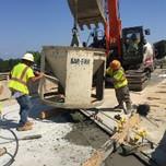 Placing concrete bridge 1016 span 1 deck extension, Phase A