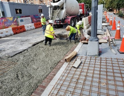 """DEN Crew placed Roadway dowels drilled into existing PCC Base along with WWF (Wire-Mesh) for Reinforcing of PCC 10"""" Base. DEN"""