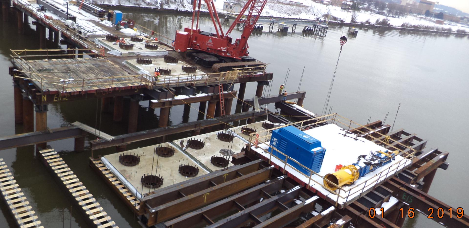Setting V-Pier 2 East side soffit panels