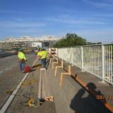 Installing supporting anchors for Sidewalk Removal, North BridgeSidewalk