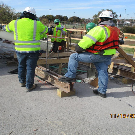 Concrete Placement for Scuppers at Span 1, North Bridge.
