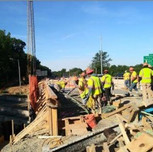 Consolidation of concrete with vibrator on AFW Bridge # 1016 Abutment-A over I-295 NB