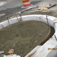 Installation of circular curb (nosing of Median) at the intersection of Lebaum and MLK