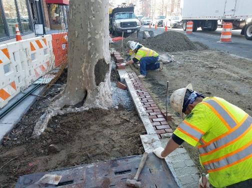 Installation of Brick Gutter near SE Corner of 14th and Q Street