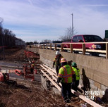 Installing work platform on Bridge 1016 Wing Wall 1