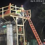 Demolishing existing beam seats on Bridge 1017 Pier