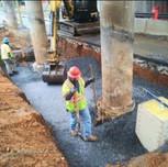 Jacking foundation installation in progress under AFW Bridge # 1016 Pier, on S. Capitol St.