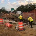 "Installing 3"" PVC performed pipe Bridge 1017 Abutment A backwall."