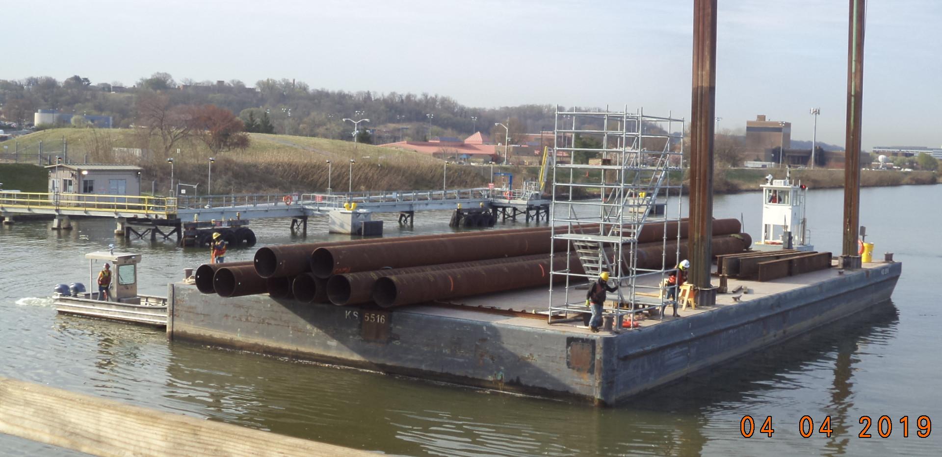 Barge Transporting Piling