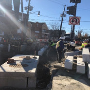 Granite curb and gutter work at the intersection of Alabama/ 5th ST/ MLK