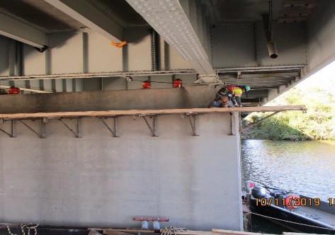 Installing Working Platforms at Pier 12, North Bridge.