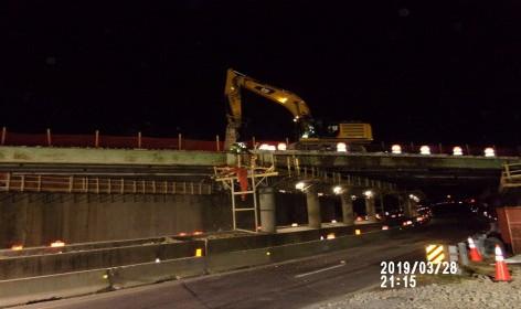 Demolishing deck slab Bridge 1017, SB-295