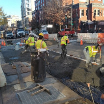 "DEN pouring the 4"" PCC Sidewalk at T Street & 14th Street NW"