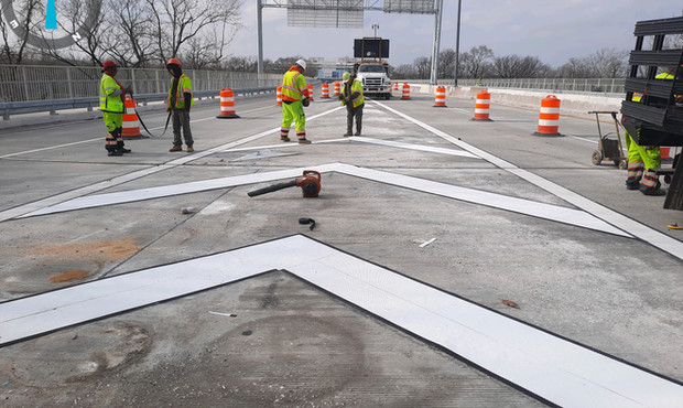 Pavement Marking at East Side of the Bridge Eastbound