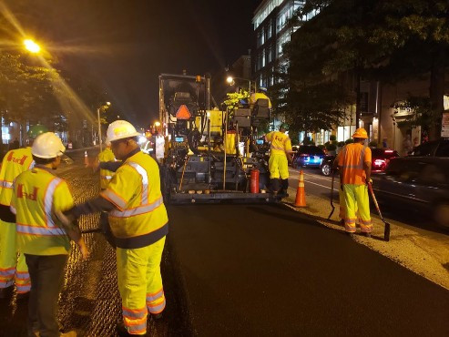 Night shift paving operations along 14th Street from P to Corcoran St.