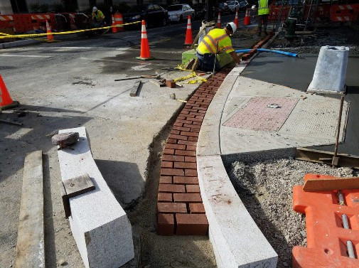 Placing Brick Gutter at the NW Corner of 14th and N Street