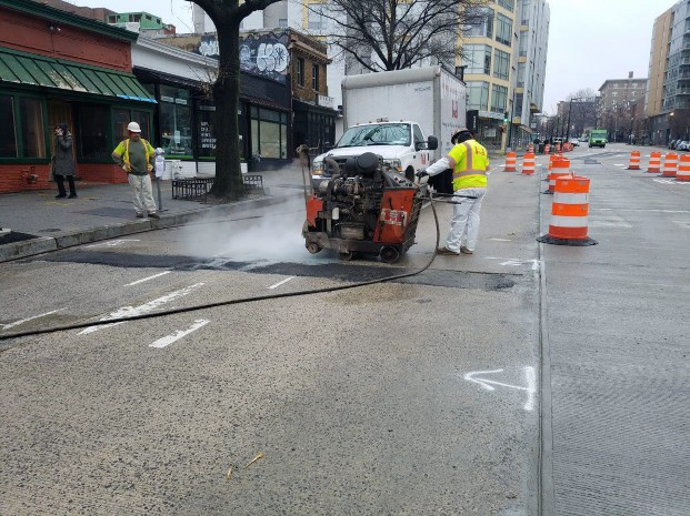 Saw Cutting for PCC Pavement Repair between Florida Ave and W Street