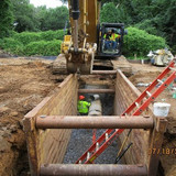 Installing Basin Connect Pipe Between M-2 and D-2, Pedestrian Connection Path