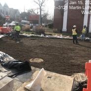 Placing planting soil at 5th and Alabama Street Storm Water Facility.