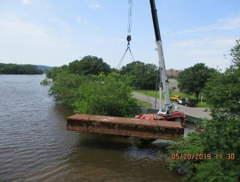 Transferring Sectional Barges into Anacostia River, Southwest Approach