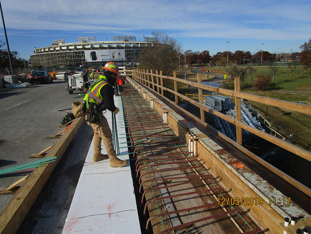 Installing North Bridge Sidewalk Rebars