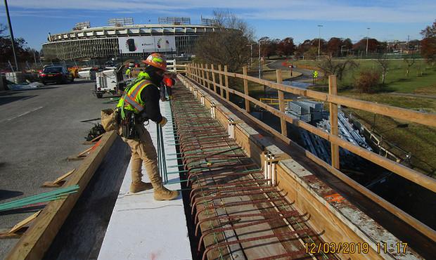 Installing North Bridge Sidewalk Rebars