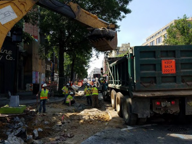 Excavating for Curb Bump out at the SE Corner of Rhode Island Ave
