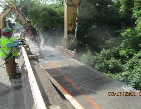 Continued Sidewalk Demolition, South Bridge.