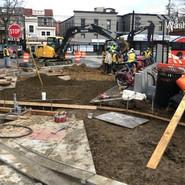 Subgrade preparation for pervious sidewalk and PCC sidewalk at MLK/5th and Alabama
