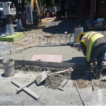 PCC concrete placed at bicycle/wheelchair ramp at T St.