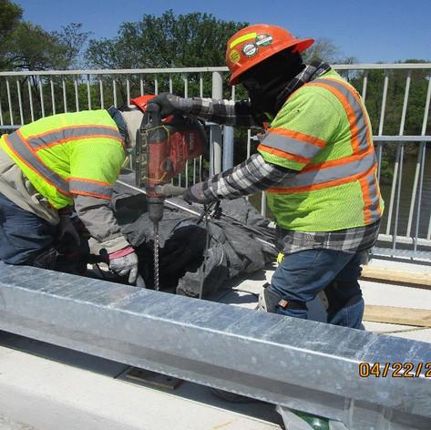 "Drilling for 42"" Pedestrian Railing, North Bridge."