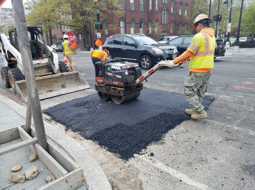Compaction of Temporary Asphalt Over Water Main Work