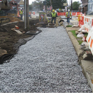 CPDC Installation of underdrain, #57 stones & Plant bed soil at MLK SB RT from Sta. 47+00 to 50+00