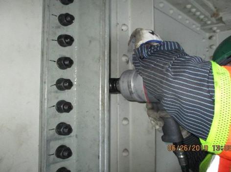 Installing Jacking Angles, Pier 8 North Bridge