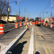 Installing median granite curb on MLK from Parkland St to Raleigh St