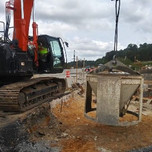 Class B Concrete poured on Abutment-B of B1017 Extended Stemwall, Beam Seats, SE Cheekwall and Backwall