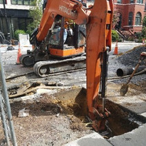 New trench for relocation next to tree box near 1338 R St