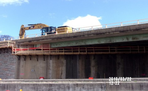 Demolition shield under Bridge 1017 Abutment A.